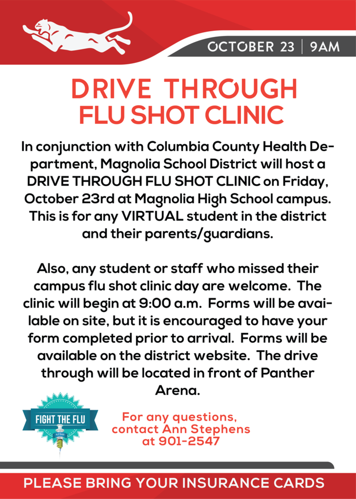 VIRTUAL STUDENT Drive Through Flu Shot Clinic - Friday October 23rd @ MHS