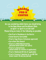 Items Needed for the Walker Pre-K Center Enrollment Clinic