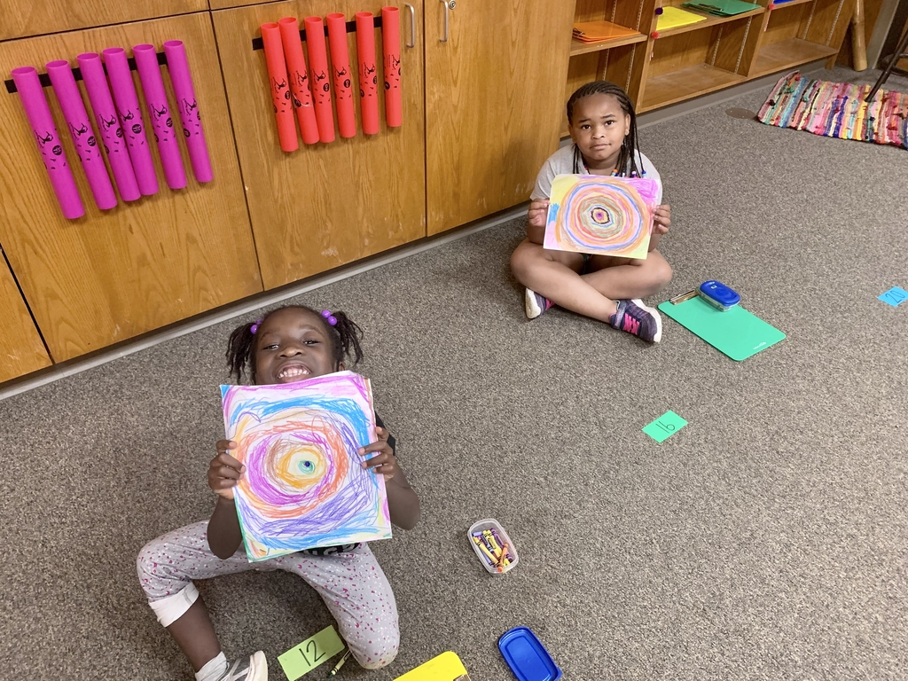 Mrs. Denmon's class creating their Kandinsky-inspired masterpieces.