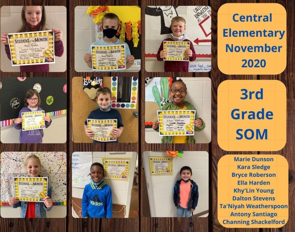 Pictures of 3rd Grade Students of the Month