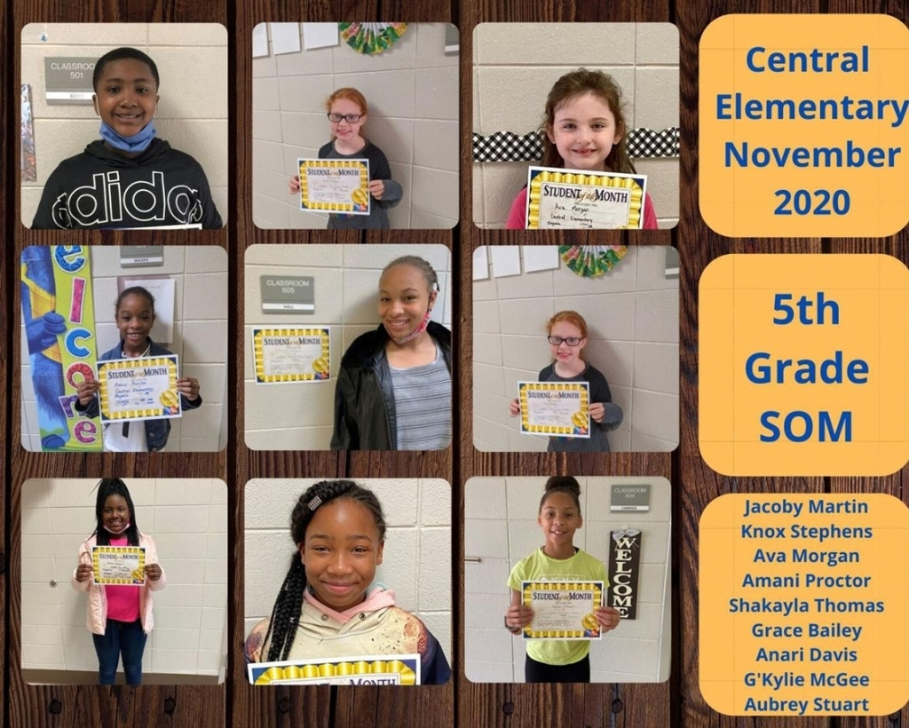 Pictures of 5th Grade Students of the Month