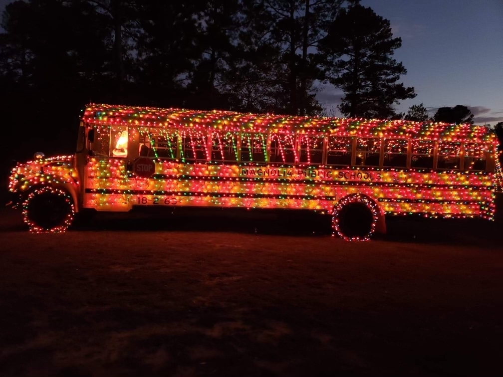 Christmas lights on school bus