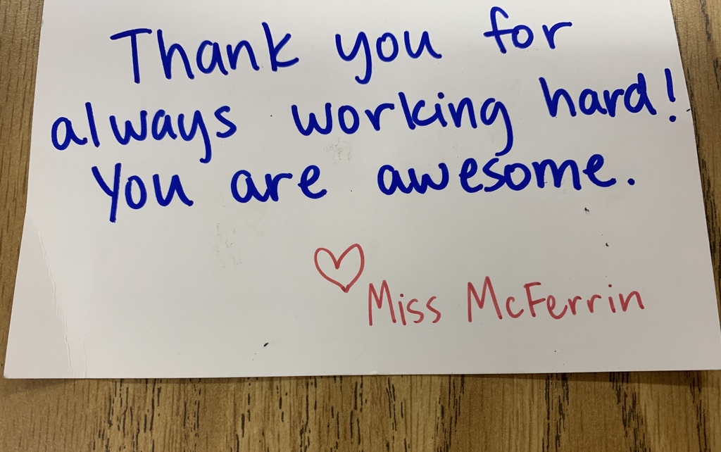 Note to student from Miss McFerrin